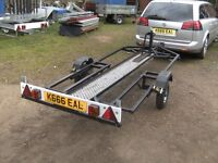 UNIQUE MOTORCYCLE TRANSPORTER CAR TRAILER MANUAL LOWERING BED SYSTEM...