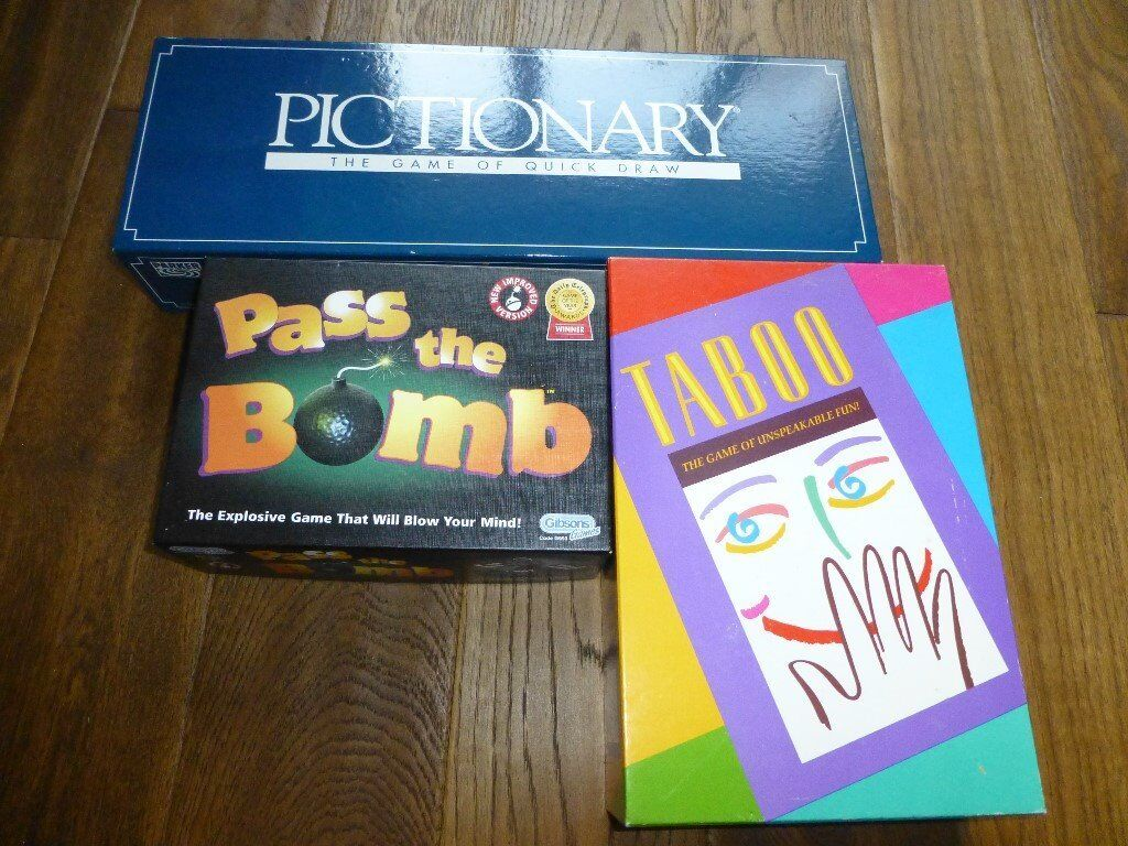 3 excellent condition games, Pictionary, Taboo and Pass the Bomb look as good as new