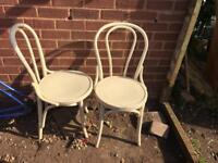 2 Wooden Chairs Vintage Cream