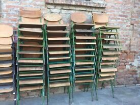TO RENT Bundle of 20 Vintage Stacking School Chairs Wooden Seats Metal Frame (Up to 40 available)