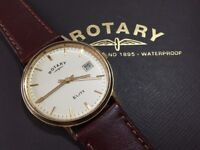 Vintage rare 18k 18ct 750 solid gold Rotary Elite Mens watch