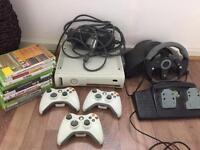 X BOX 360 60GB WHITE WITH ALL THE GAMES AND RACING WHEEL