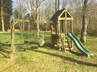 Children's outdoor jungle gym swing set with tower