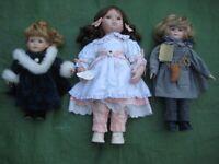3 New Leonardo Porcelain Dolls Separately Priced