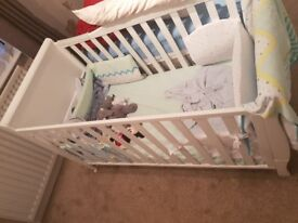 3 in 1 white baby cot
