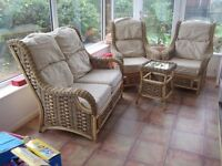 Cane conservatory suite 4 pce with beige cushions