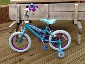 """Frozen 14"""" childrens bike with stabilisers - only used a few times - excellent condition"""