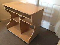 Curved Computer Desk Trolley - Beech Effect