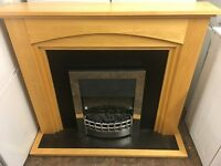 ELECTRIC FIRE IN MINT CONDITION PINE WITH SILVER CHROME SURROUND