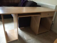 Computer desk with sliding key board table, 1 drawer and separate tower section