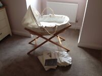 Mamas & Papas Moses Basket and Stand with sheets and blankets