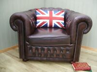 Stunning Brown Leather Chesterfield Club Chair.