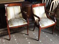Upholstered Mahogany Carver Armchairs