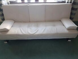 2× modern 2/3 seater Sofa bed white