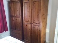 BRAND NEW EX DISPLAY SOLID ANTIQUE PINE ROBES FREE DELIVERY £120