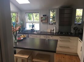 John Lewis kitchen: cupboards, worktops, dishwasher, cooker hood