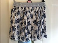 Blue and white floral skirt, age 11-12