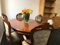 Fabulous Italian style inlaid dining table and chairs courier service available