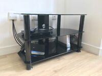 "John Lewis black glass TV stand up to 40"" TVs"