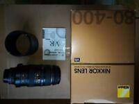 Nikon AF 80-400mm f/4.5-5.6G ED VR lens, Excellent Condition! FOR SALE!