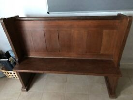 Solid Wood Restored Antique Church Small Pew Bench - Oak