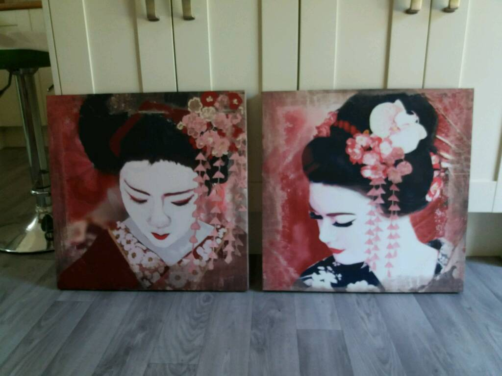 Pair of Canvas Japanese Printsin Gravesend, KentGumtree - Excellent condition, each print 50×50cm, collect from Istead Rise