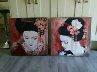Pair of Canvas Japanese Prints