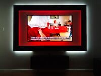Safe Square Wall Mounted TV Unit Black Gloss Laminated With Colour Changing Led Lighting & Remote
