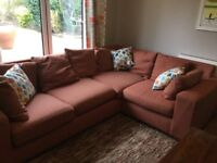 Corner Sofa and Matching Armchair - Next, Orange Tweed, 5 years old. Ideal for families. Good cond.