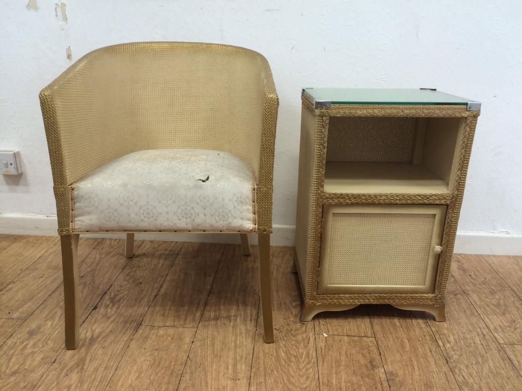 Vintage 1950s Lloyd loom chair & cabinet