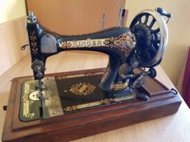 1896 Vintage Antique Singer Sewing Machine, Hand Cranked & Original Wooden Box