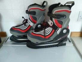Red B SQUARE ladies adjustable size ice skates (UK sizes 4-6)