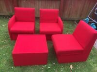 3 Red One Seater Sofas and 1 Red foot rest