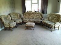 5 piece suite, 2 sofa's, armchair, rocking chair and footstool, COTTAGE STYLE SUITE- EX CONDITION