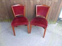 2 x Red Covered Dining or Bedroom Chair Delivery Available