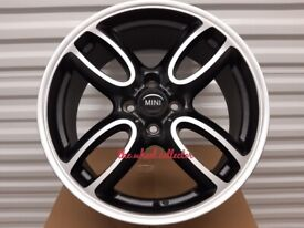"J14* NEW 4X 17"" BLACK ALLOY WHEELS ALLOYS 4X100 R56 R53 R50 COOPER S JCW CLUBMAN WORX"