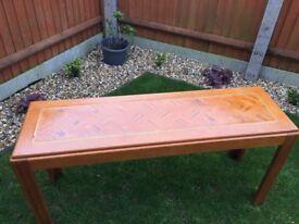 Classic 60s/70s console table / sideboard parquet (herringbone) oak table