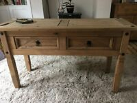 2 DRAWER CONSOLE TABLE HALLWAY PINE MEXICAN FURNITURE