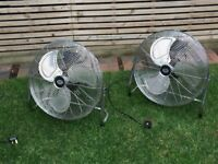 Prem-i-air 18 inch chrome fans, tilt adjustable with 3 speeds. Honeywell fans available too.