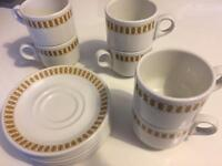 6 vintage white & mustard yellow tea coffee cups mugs saucers