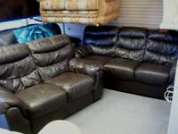Dark Brown Leather 3 and 2 Seater Sofas Settees. 2 Piece Suite