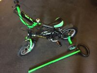 "Boys 12"" bike with option steering handle"