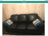 Black leather sofa 3-1-1 seater and footstool too like brand new