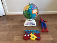Vtech globe, Spiderman figure and wooden puzzle