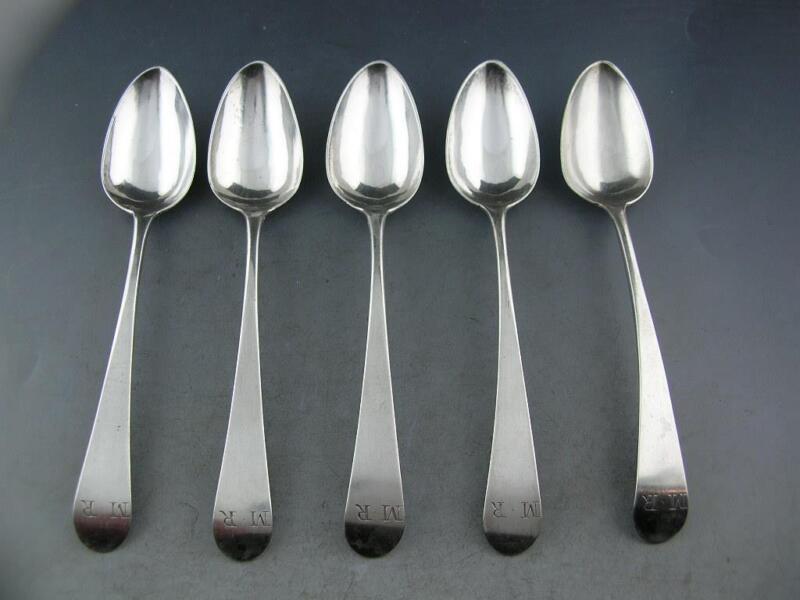 "5 Early Coin Silver 5"" Spoons JOSEPH RICHARDSON JR Phila c1780-1790 ~ M.R"