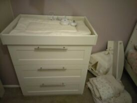 Nursery chest draws baby changer, cot bed