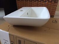 used, like new RAK wall hung cloakroom basin, 400x300, 120 deep.