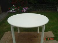 Four Foot Chalk Painted Circular Dining Table. Can Deliver.