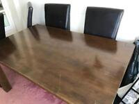Dining room table with 4 leather chairs