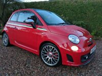 Pampered Fiat 500 Abarth 36k Full MOT, Glass roof, Black leather, May Part ex
